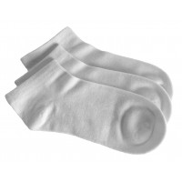 3 Pack Bamboo School No Show Socks - White
