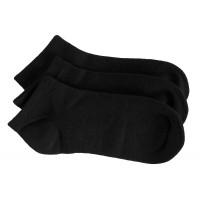 3 Pack Bamboo School No Show Socks - Black
