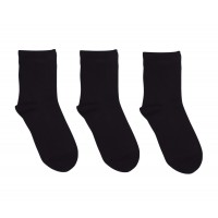 3 Pack Bamboo School Socks Black